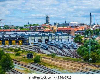 High dynamic range (HDR) Railway station in Aarhus in Denmark