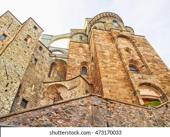 High dynamic range HDR Sacra di San Michele (Saint Michael Abbey) on Mount Pirchiriano in St Ambrogio Italy