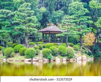 High dynamic range (HDR) Shukkei En garden in Hiroshima Japan