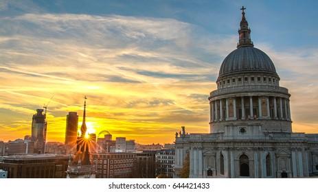 High Dynamic Range (HDR) sunset shot of St Pauls, London, United Kingdom