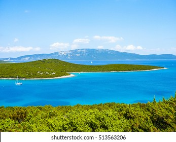 High dynamic range (HDR) Unije island in Croatia part of the Cres Losinj archipelago in the Adriatic Sea