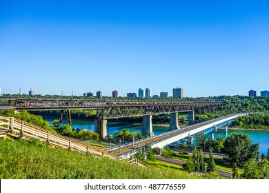 High dynamic range (HDR) View of the city of Edmonton in Canada from the North Saskatchewan River