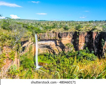 High dynamic range (HDR) Waterfall in Chapada dos Guimaraes national park in the Brazilian state of Mato Grosso