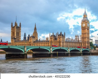 High dynamic range HDR Westminster Bridge panorama with the Houses of Parliament and Big Ben in London UK