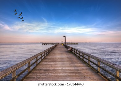 High Dynamic Range image of a Fishing pier on the Eastern shore of the Chesapeake Bay in Maryland