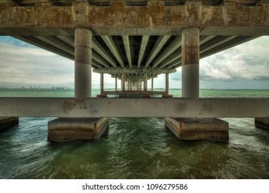 High dynamic range image of the MacArthur Causeway Bridge in Miami.