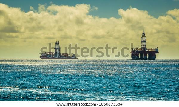High dynamic range image of a submarine petroleum platform, Tenerife, Spain.