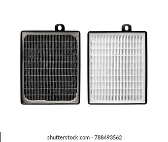 High efficiency air filter for HVAC system. Isolated on white background. filter in a vacuum cleaner. new and used filter