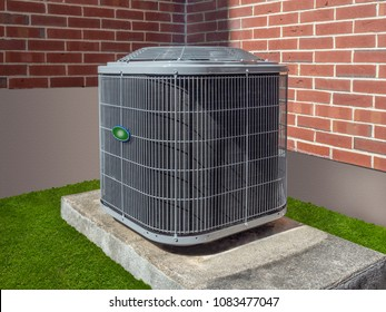 High efficiency modern AC-heater units, energy save solution-horizontal, outside an apartment complex