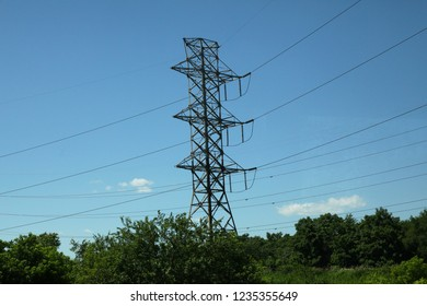 High electricity pole line in nature.