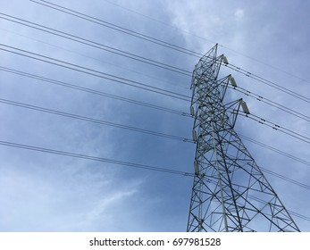 High electricity post and blue sky