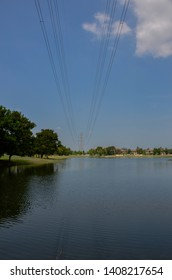 high electricity tower line across the river