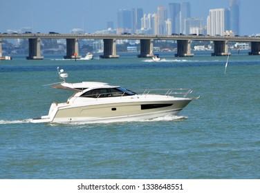 High end cabin cruiser on the Florida Intra-Coastal Waterway