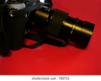A high end film camera and zoom lens made for professional's use.