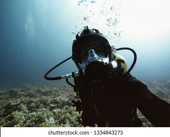 High end underwater mask on diver