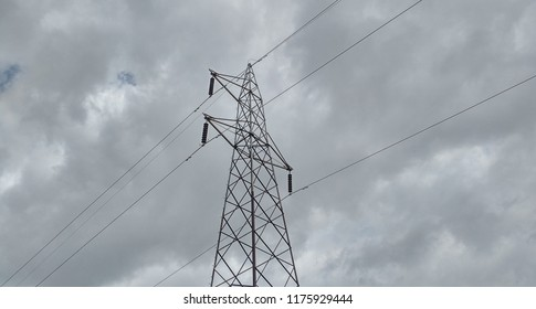 High extension power lines sometimes also known as high tension power lines pole to power up 11000 volts