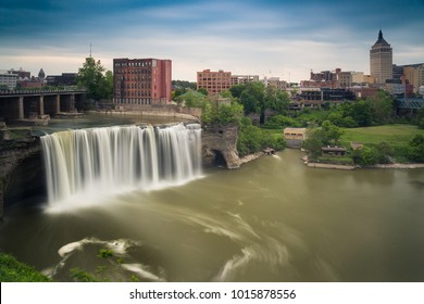 High Falls district in Rochester New York under cloudy summer skies