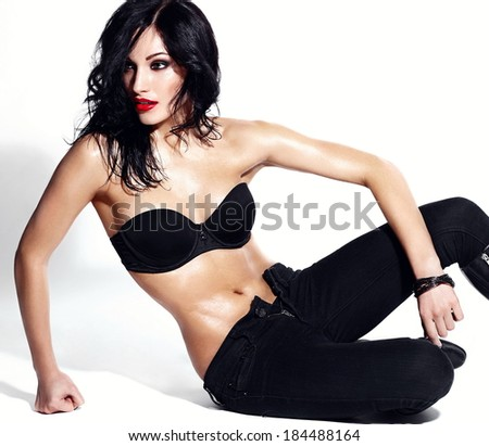 1734e686672 High fashion look.glamor portrait of beautiful sexy Caucasian young  brunette woman model with bright