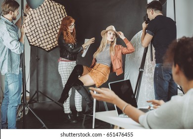 High fashion model during photoshoot for magazine cover