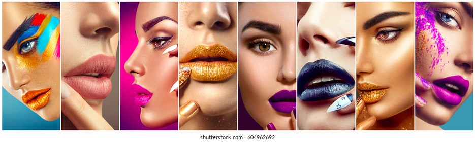 High Fashion model make up collage. Beauty makeup artist ideas. Colorful lips, eyes, eyeshadows and nail art. Beautiful women parts of face. Vivid bright make-up, lipstick, nailpolish for party. - Shutterstock ID 604962692