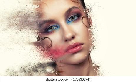 High Fashion model make up. Beauty makeup artist ideas. Colorful lips, eyes, eyeshadows. Beautiful women parts of face. Vivid bright make-up, lipstick.