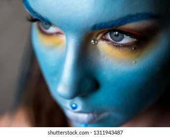 High Fashion model woman .Art design, colorful make up.
