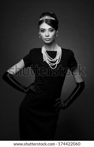High Fashion Portrait Elegant Woman Black Stock Photo Edit Now