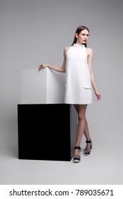 high fashion portrait of young elegant woman. Studio shot