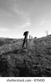 High Fenceline in Black and White