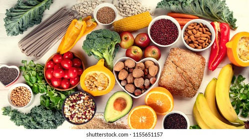High Fiber Foods. Healthy balanced dieting concept. Flat lay
