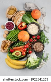 High Fiber Foods., Healthy balanced dieting concept.. Foods high in antioxidants,minerals and vitamins. Immune boosting. Flat lay., top view