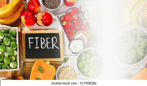 High Fiber Foods. Healthy diet eating. Flat lay. Banner