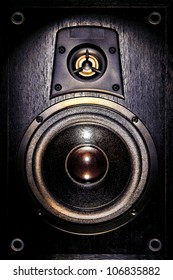 High fidelity audio stereo system sound speaker enclosure with low bass and treble tweeter loudspeaker cone drivers