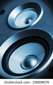 High fidelity audio stereo system sound speaker. Shallow depth of field, focus on the dynamics of the lower