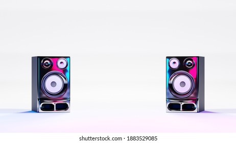 High fidelity stereo loudspeakers on white background and neon lights. Digital 3D render.