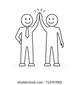 High five gesture. Business teamwork. Happy people