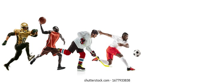 High flight. Young sportsmen running and jumping on white studio background. Concept of sport, movement, energy, healthy lifestyle. Training, practicing in motion. Flyer. Basketball, soccer, hockey.