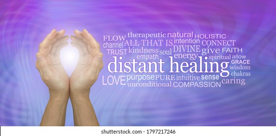 High Frequency Distant healing Word Tag Cloud - cupped hands with white light beside a DISTANT HEALING word cloud against a pink blue resonating energy field