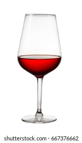 High glass with still red wine isolated on white background