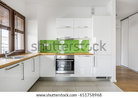 high gloss white kitchen big window stock photo edit now 651758968