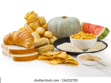 High Glycaemic Index Foods - carbohydrates which have a high glycaemic index rating, on a white background.
