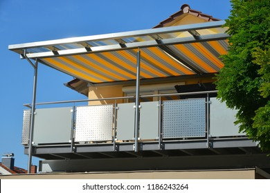 High Grade Steel Balcony with Steel Framed Glass Roof and colored Awning