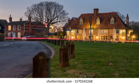 High Halden, Kent / UK - Jan 18 2019: View of the quaint village pub 'The Chequers on the green' in he village of High Halden in Kent, UK