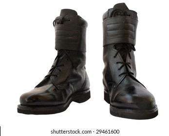 High, heavy army boots isolated on a white background