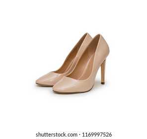 High heel biege shoes isolated on the white background
