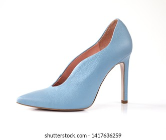 High heel blue woman shoes isolated on white background
