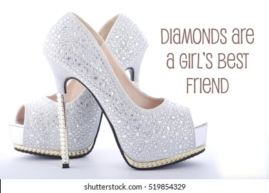 High heel rhinestone stiletto shoes with funny saying, Diamonds Are a Girls Best Friend.