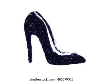 11c3f9b3c7 High heel shoe of black glitter sparkle on white background