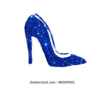 High heel shoe of blue glitter sparkle on white background