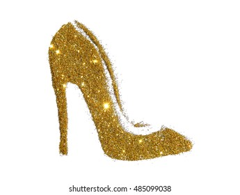 4a4870e9e527 High heel shoe of golden glitter sparkle on white background